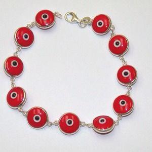 Red Evil Eye Silver Bracelet