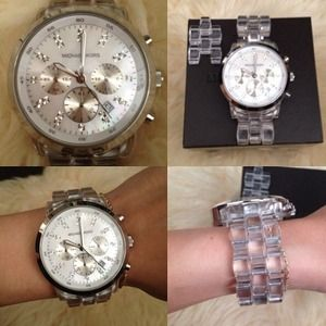 MK Micheal Kors clear silver big face watch