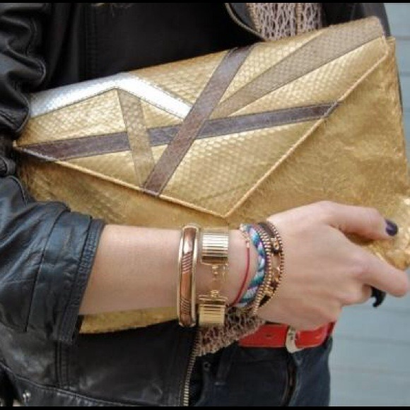 vintage Handbags - Vintage gold/mixed metal snakeskin clutch