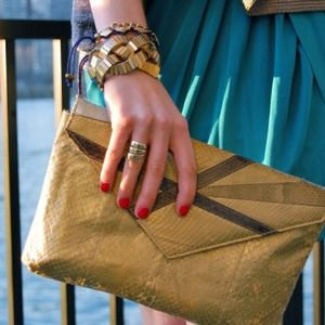 vintage Clutches & Wallets - Vintage gold/mixed metal snakeskin clutch