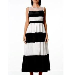 Black & White Stripe Maxi Dress with Sheer Panel