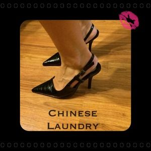 Reduced❗️Chinese Laundry black sling backs