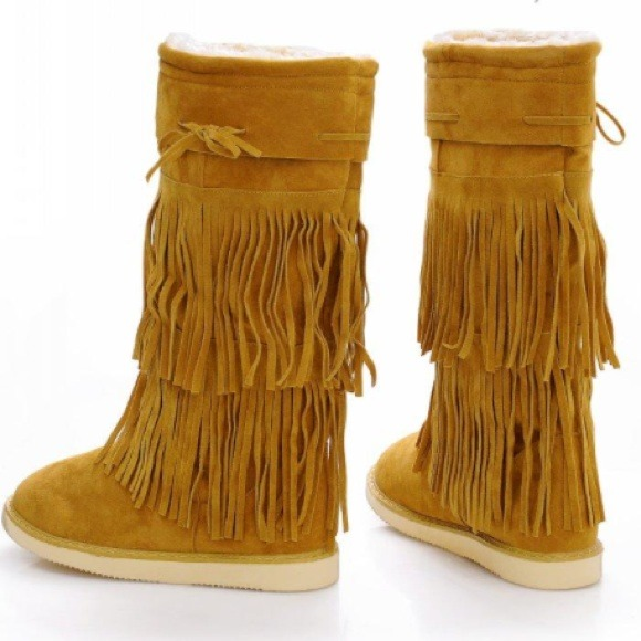 Chestnut ugg style fringe boots 7 from Lindsay's closet on Poshmark