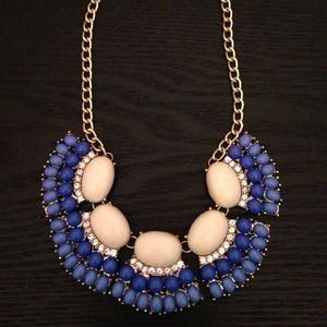 Jewelry - Blue fringe fan necklace. J.crew inspired.