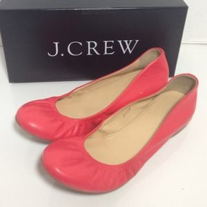 J.Crew Cece Leather Ballet Flats - Poppy