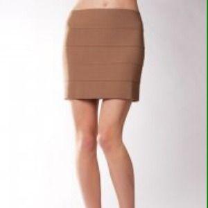 Pleasure Doing Business 5 Band Skirt in Tan