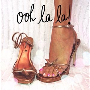 Classified Shoes - CLASSIFIED COPPER STRAPPY HEELS 7