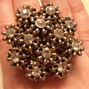 Betsey Johnson Gold RhinestoneFloral Cocktail Ring