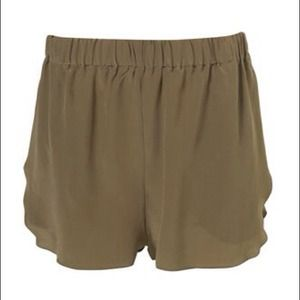 TopShop Boutique Khaki Silk Wrap Side Runner Short