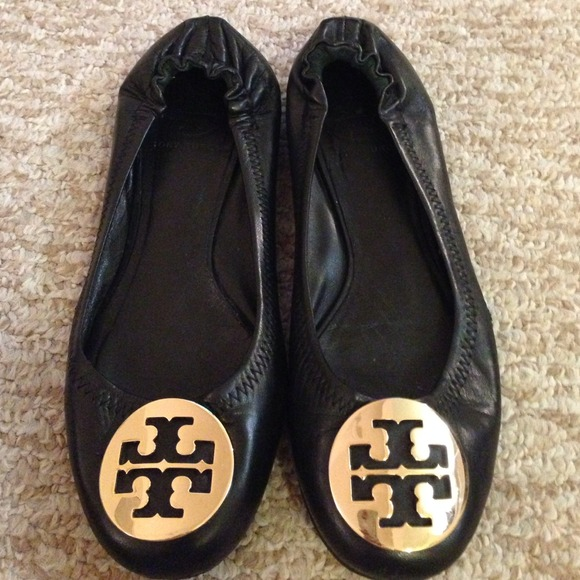 Authentic Tory Burch Reva flats, black size 7