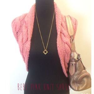 Bebe pink cable knit shrug