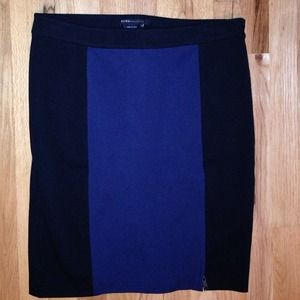 BCBG blue & black color block pencil skirt