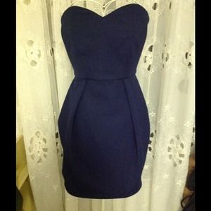 Ronny kobo navy sweetheart strapless dress