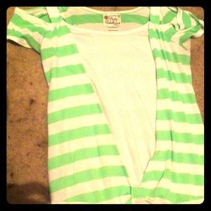 Green and white striped shirt