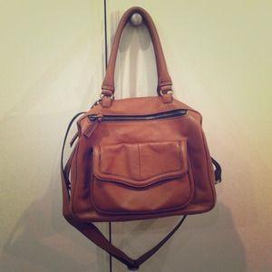 Zara Chocolate Brown Leather Bowling Bag