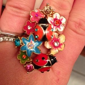 Betsey Johnson ladybug cocktail ring