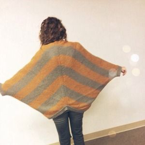 Lush Sweaters - Striped Batwing Slouchy Cardigan