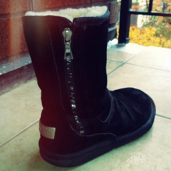 UGG Australia Black Boots with silver zipper