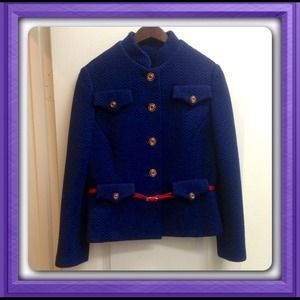 One of a Kind Navy Blue Military  Blazer