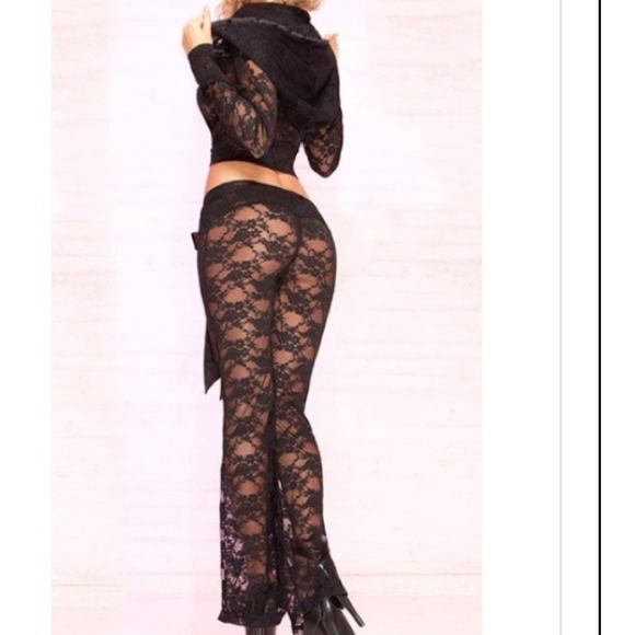 Black Lace Jacket Amp Pant Set Beach Bunny Style M From