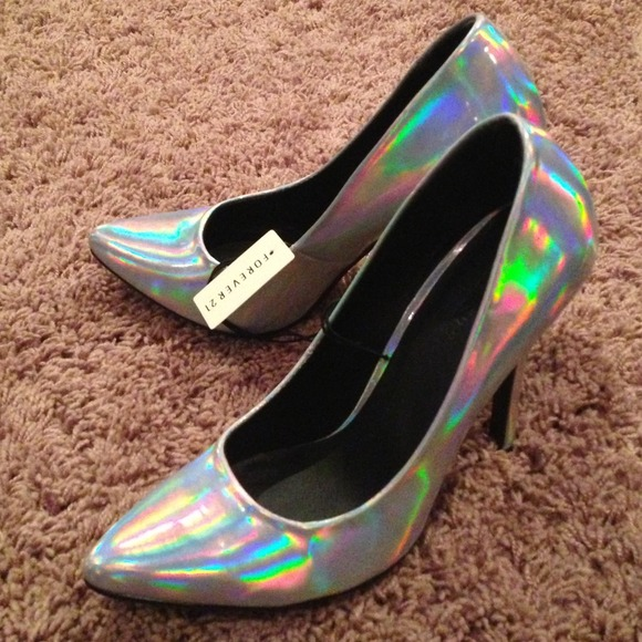 3b3cd2fbafa Silver hologram Forever 21 NWT 4 inch heels