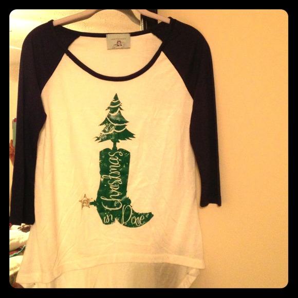 Christmas In Dixie Shirt.Judith March Christmas In Dixie Baseball Tee Nwt