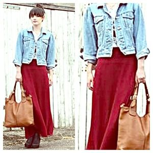70% off Dresses & Skirts - Maroon maxi skirt from Maelee's closet ...