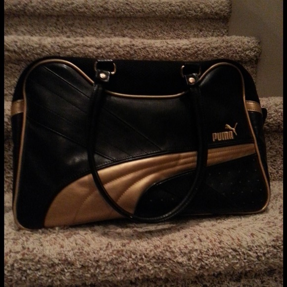 Puma Black And Gold Gym Bag