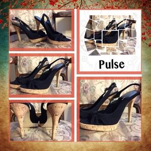 Shoes - 👠 Sz 9 Black Felt Sling backs 👠