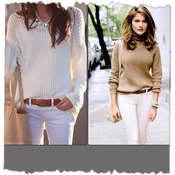 How I like to wear white jeans in the fall/winter! N/A from ...