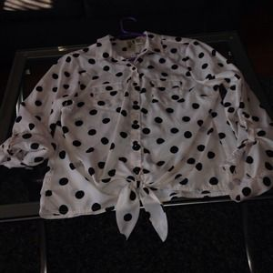 Polka dot blouse peachy beige color