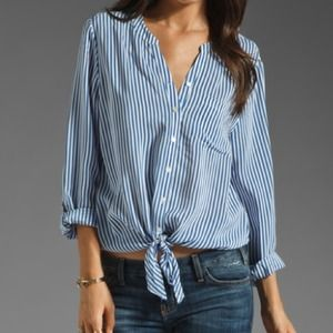 HP-Joie Silk Blouse - blue and white stripe
