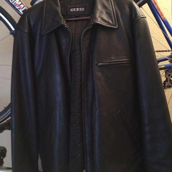 Guess Mens Leather Jacket Men's Guess Black Leather