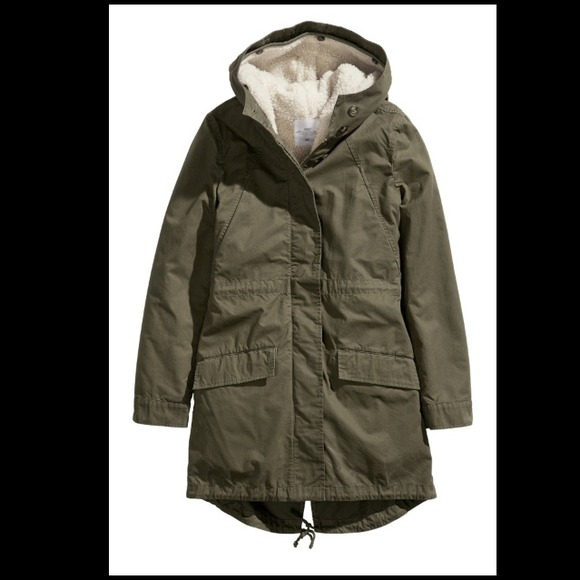 H&m Parka in Olive Green Size
