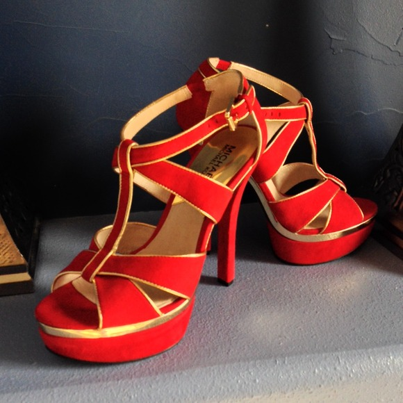 Michael Kors Shoes - 💕reduced💕Michael Kors Red/Gold Sandals