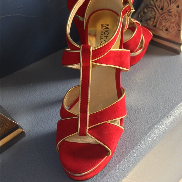 Michael Kors Shoes - 💕reduced💕Michael Kors Red/Gold Sandals 4