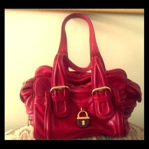 Marc Jacobs Ruby Red Leather Hobo