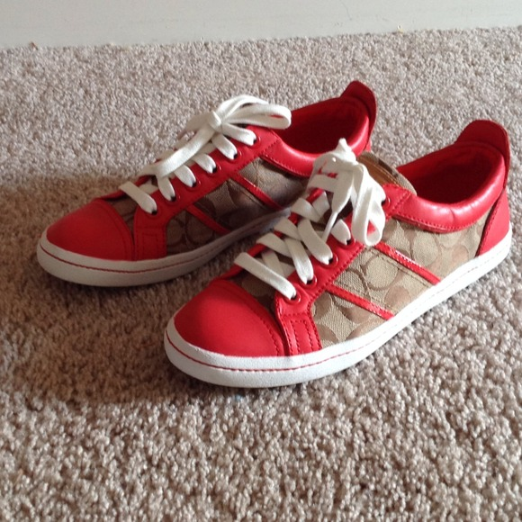 Coach Shoes Price Cut Signature Red Sneakers Poshmark
