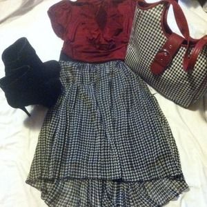 BundledHOUNDSTOOTH HIGH LO SKIRT