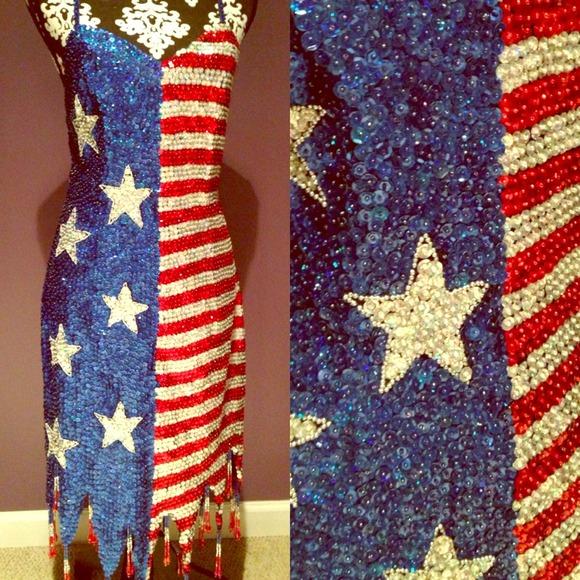 Dresses | American Flag Sequin Bead Dress | Poshmark