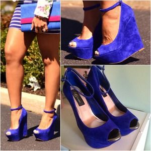 Dorothy Perkins  Shoes - Cobalt Suede Ankle Strap Wedges