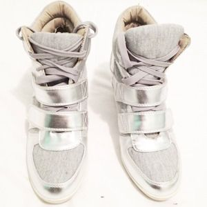 F21 Silver Wedge Sneakers