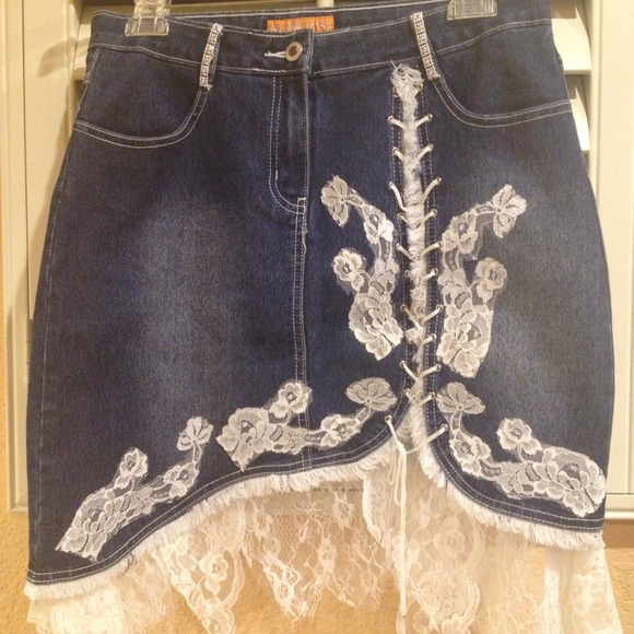 46% off Denim - Cute blue jean skirt with white lace trimming ...