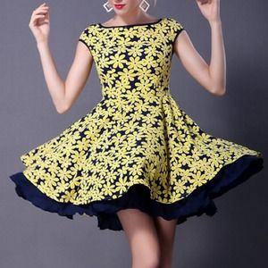 Oasap Dresses & Skirts - Brand new yellow & navy floral dress