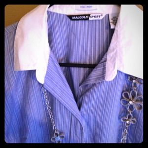 white and baby blue striped button up size large