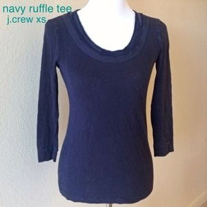 J. Crew Tops - 3/4 sleeve XS jcrew ruffle top. Navy Blue