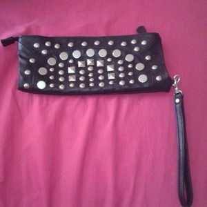 Black Studded Hobo Wristlet/Clutch