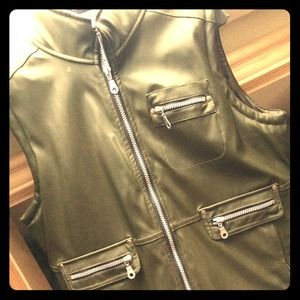 Vegan leather olive vest