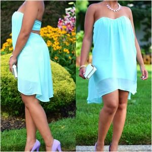 Pastel Mint Strapless Flirty Dress