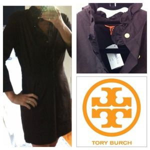 Tory Burch brown ruffle long sleeve dress!